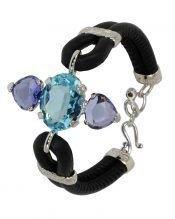 Pulsera color azul y violeta de plata de ley y cuero negro
