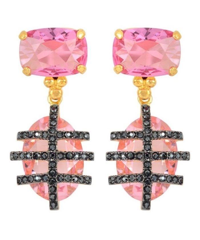 Pendientes oro rosa con cristales fucsias y negros de plata de primera ley