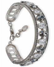 Brazalete plata blanco y gris con cristales Swarovski