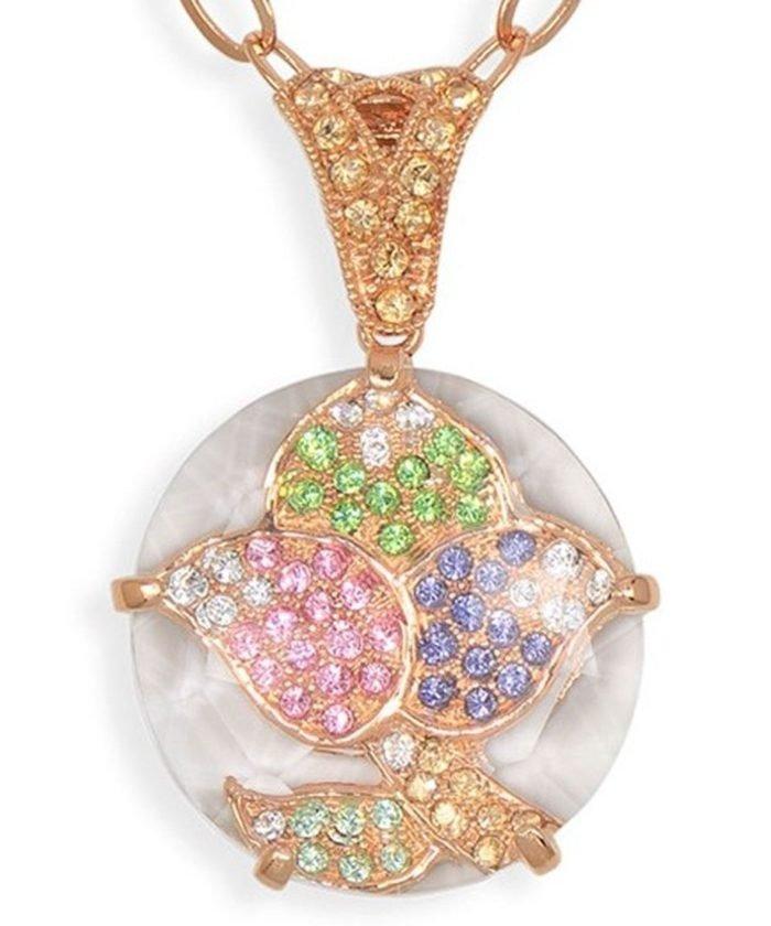 Colgante de hojas oro rosa de plata con cristales Swarovski de colores