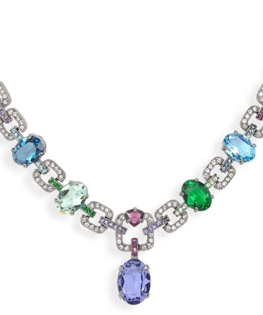 Collar Swarovski Elements multicolor de plata de primera ley