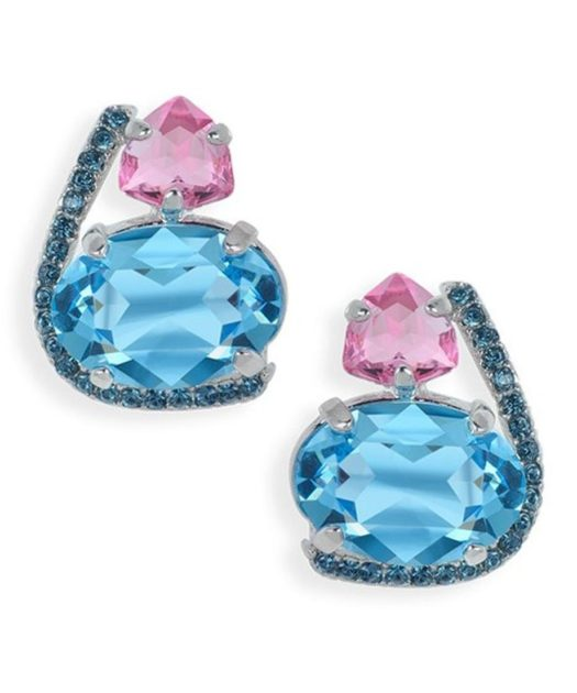 Pendientes Swarovski Crystal azules y rosas de plata de ley