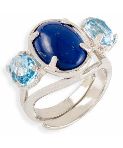 Anillo lapislázuli con cristales azules de plata de ley rodinada