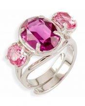 Anillo Swarovski Elements rosas de plata de ley rodinada
