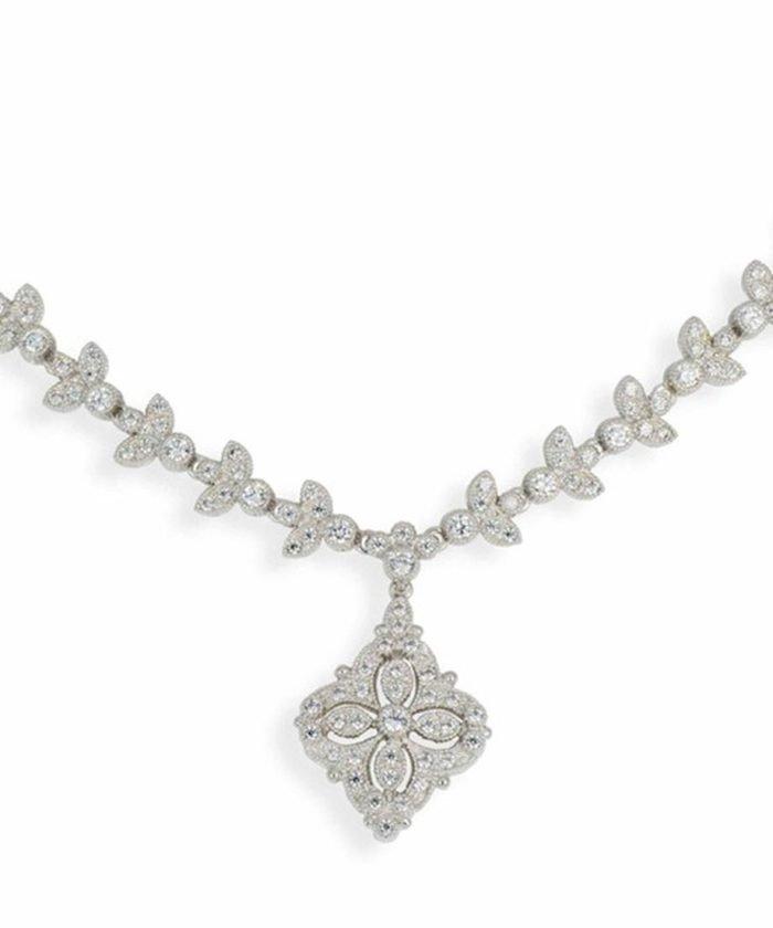 Gargantilla novia de plata de ley rodinada con cristales Swarovski