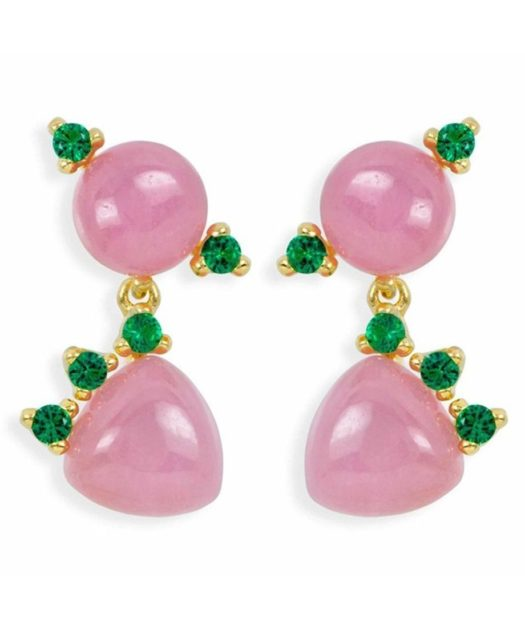 Pendientes articulados con jade rosa de plata de ley y Swarovski Elements