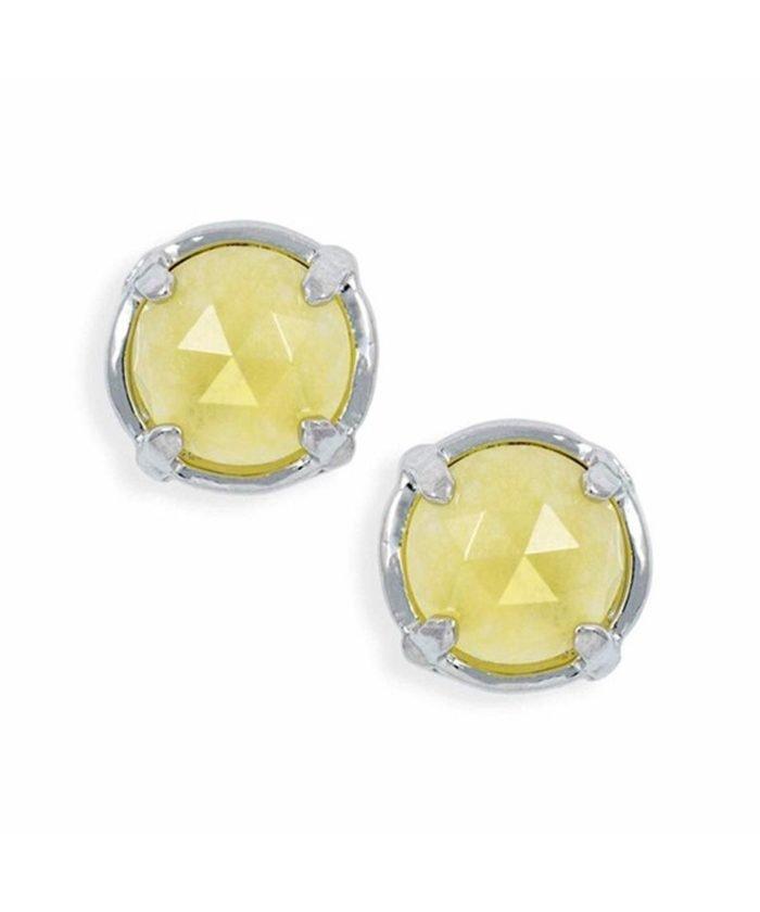 Pendientes botón jade amarillo pequeños en plata de ley rodinada